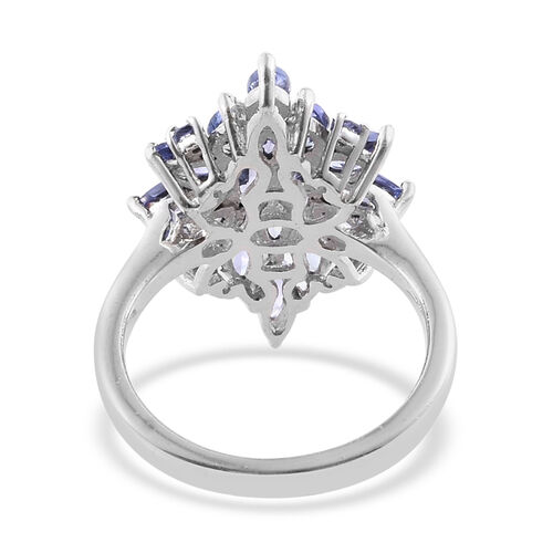 Tanzanite (Mrq) Cluster Ring in Platinum Overlay Sterling Silver 2.000 Ct.