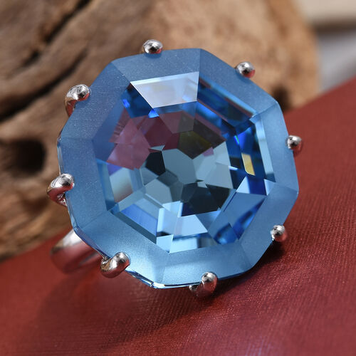 J Francis - Crystal from Swarovski Aquamarine Colour Crystal (Hexagon 23 mm) Ring in Platinum Overlay Sterling Silver, Silver wt 6.9 Gms.