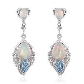 3.53 Ct Ethiopian Opal and Multi Gemstones Drop Earrings in Rhodium Plated Sterling Silver 4.3 Grams