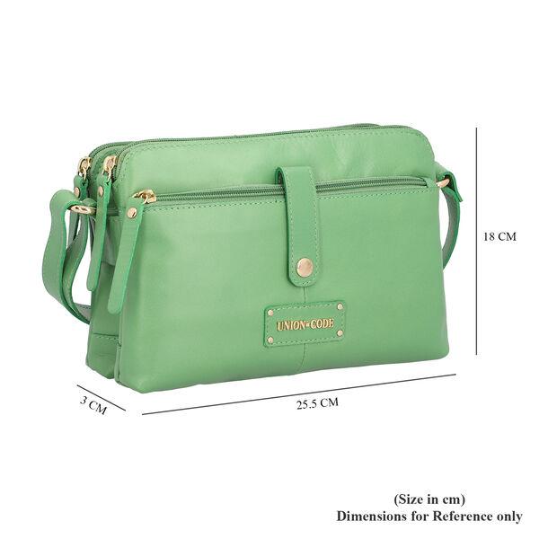 UNION CODE Super Soft 100% Genuine Leather Multi Pocket Crossbody Sling Bag with Zipper Closure (Size 25.5x3x18 Cm) - Green