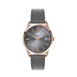 Henry London Finchley Ladies Water Resistant Watch with Genuine Leather Strap - Grey