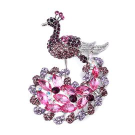 Simulated Ruby and Multi Colour Austrian Crystal Peacock Brooch
