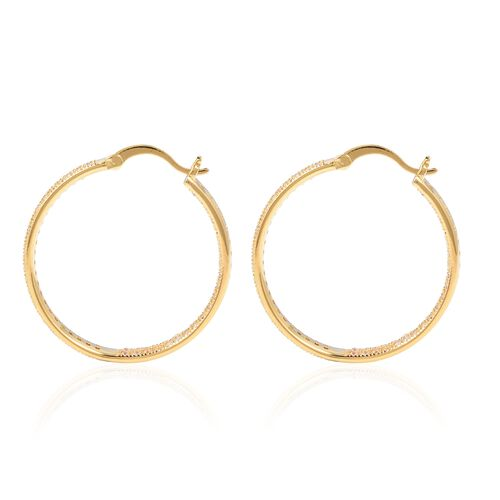 Simulated Diamond (Rnd) Hoop Earrings (with Clasp) in Yellow Gold Tone 2.10 Ct.