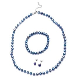 3 Piece Set -  Peacock Freshwater Pearl Stretchable Bracelet (Size 6.5-7.5), Stud Earrings (with Pus