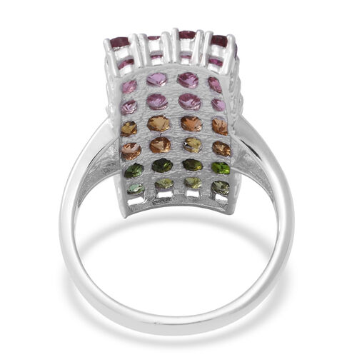 NY Close Out Deal- Rainbow Tourmaline (Ovl) Ring in Rhodium Overlay Sterling Silver  5.000 Ct.