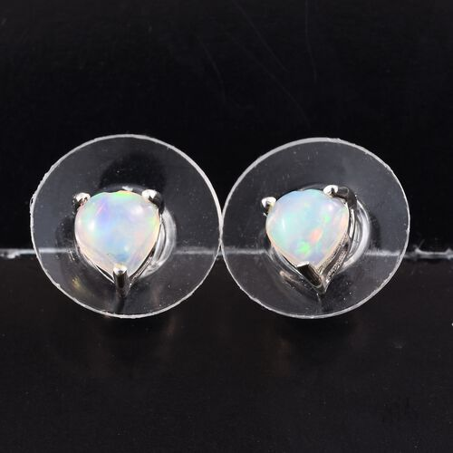 Ethiopian Welo Opal (Hrt) Stud Earrings (with Push Back) in Platinum Overlay Sterling Silver