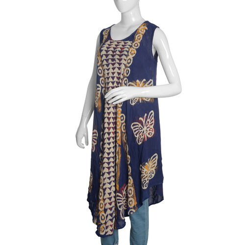 Navy, Red and Multi Colour Butterfly Printed Tunic (Free Size)