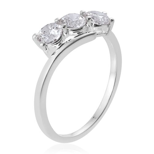 J Francis Sterling Silver (Rnd) 3 Stone Ring Made with SWAROVSKI ZIRCONIA.