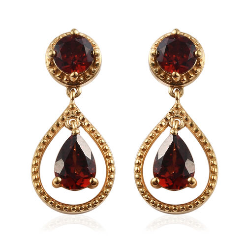 Mozambique Garnet (Rnd and Pear) Drop Earrings in 14K Gold Overlay Sterling Silver 2.43 Ct.