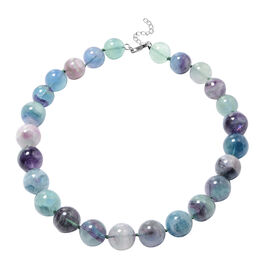 Multi Fluorite Beaded Necklace in Rhodium Plated Sterling Silver 20 with Extender