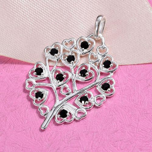 J Francis - Crystal from Swarovski Jet Crystal (Rnd) Pendant in Sterling Silver