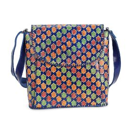 SUKRITI 100% Genuine Leather Floral Pattern Crossbody Bag (Size 28x33x11 Cm) - Navy Blue