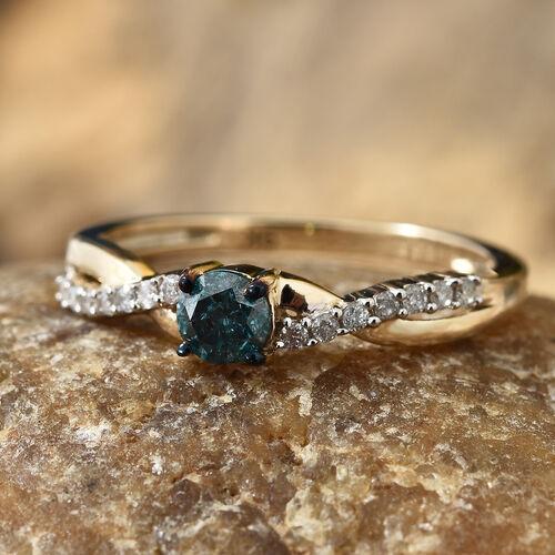 9K Yellow Gold Blue Diamond (Rnd), White Diamond Ring