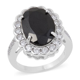 8.22 Ct Boi Ploi Black Spinel and Zircon Halo Ring in Rhodium Plated Silver 5.10 grams