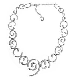 Lucy Q Wave Necklace in Rhodium Plated Silver 96.14 Grams Size 20 with 4 inch Extender