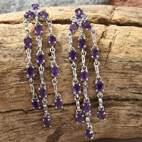 Lusaka Amethyst (Ovl), White Topaz Chandelier Earrings (with Push Back) in Platinum Overlay Sterling Silver 4.750 Ct.