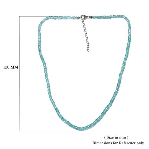 Paraiba Apatite (Rnd) Adjustable Beads Necklace (Size 18 with 1.5 inch Extender) in Sterling Silver with Lobster Lock 61.41 Ct.