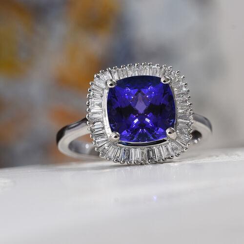 RHAPSODY 950 Platinum AAAA Tanzanite (Cush), Diamond (VS/E-F) Ring 3.00 Ct, Platinum wt. 5.00 Gms