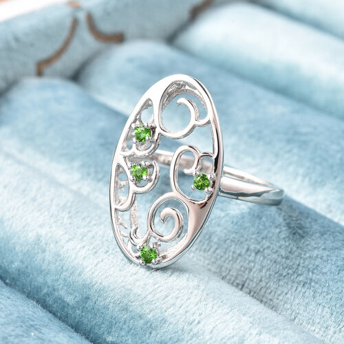 LucyQ Victorian Era Collection - Russian Diopside Ring in Rhodium Overlay Sterling Silver