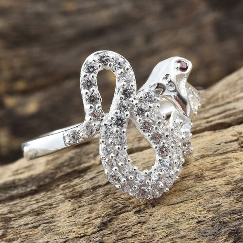 J Francis - Sterling Silver (Rnd) Snake Ring Made with White and Red SWAROVSKI ZIRCONIA