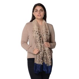 Leopard Pattern Scarf with Navy Border (Size 90x180cm)