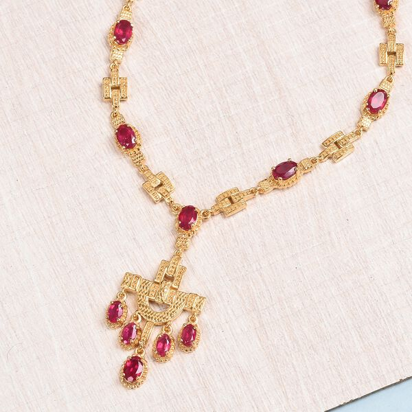 African Ruby (FF) Necklace (Size 18) in 14K Gold Overlay Sterling Silver 10.65 Ct.