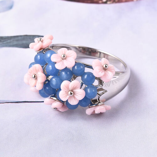 Jardin Collection - Blue Jade (3.25 Ct), Pink Mother of Pearl Floral Dome Ring in Rhodium Overlay Sterling Silver