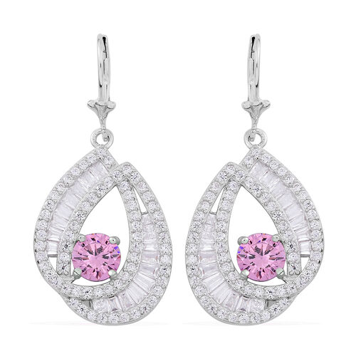 Signature Collection-ELANZA AAA Simulated Pink Sapphire (Rnd), Simulated Diamond Lever Back Earrings in Rhodium Plated Sterling Silver. Silver WT 7.25 Gms