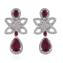 6.75 Ct African Ruby and Zircon Drop Earrings in Platinum Plated Sterling Silver