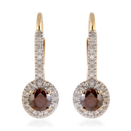 New York Close Out 0.50 Ct Red and White Diamond I2 I3 Earrings in 9K Yellow Gold