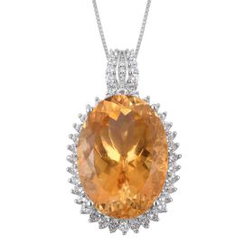 Limited Edition- Rare Size Citrine (Ovl 22X16), White Topaz Pendant with Chain in Rhodium and Platinum Overlay Sterling Silver 22.870 Ct. Silver wt 5.88 Gms.