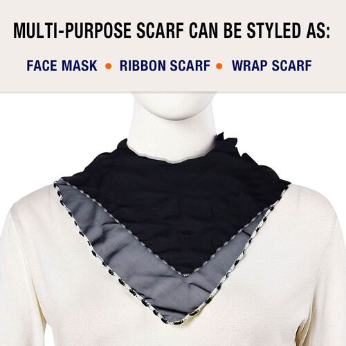 2 in 1 Chiffon Soft Feel Scarf and Face Covering (Size 45x45 Cm) - Black