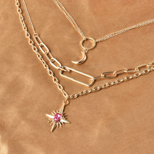 Three Layer Necklace (Size 16 with 4 inch Extender) in Gold Tone