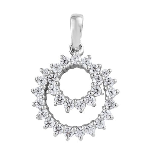 J Francis - Platinum Overlay Sterling Silver (Rnd) Circle Pendant Made with SWAROVSKI ZIRCONIA