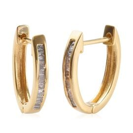 Natural Diamond (Bgt) Hoop Earrings (with Clasp Lock) in 14K Gold Overlay Sterling Silver