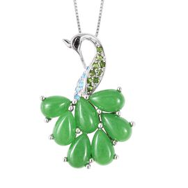 Multi Gem Stone Sterling Silver Pendant With Chain  8.520  Ct.