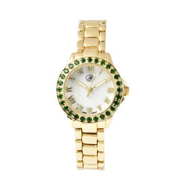 GENOA Japanese Movement Russian Diopside Studded White Dial Water Resistant Watch in Gold Tone