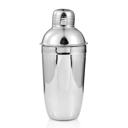 Super Bargain - 5 Pcs. Cocktail Set - Jigger (Size 14x9), Tong (Size 17 Cm), Stirer (Size 23 Cm), Strainer (Size 21 Cm) and Shaker (500 ml) in Silver Colour