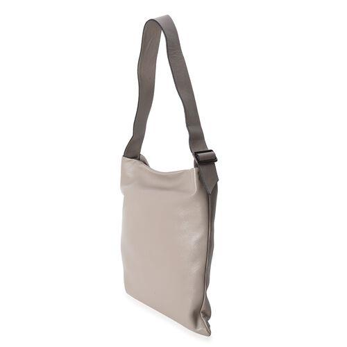Premium Collection Super Soft  100% Genuine Leather Grey Colour Tote Bag with Adjustable Shoulder Strap (Size 39x36x33 Cm)
