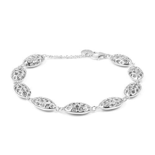 WEBEX- RACHEL GALLEY Rhodium Plated Sterling Silver Pebble Lattice Bracelet (Size 8), Silver wt 10.25 Gms.