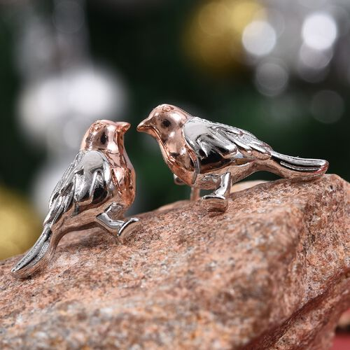 The National Bird - Rose Gold and Platinum Overlay Sterling Silver Robin Stud Earrings (with Push Back), Silver wt. 4.08 Gms