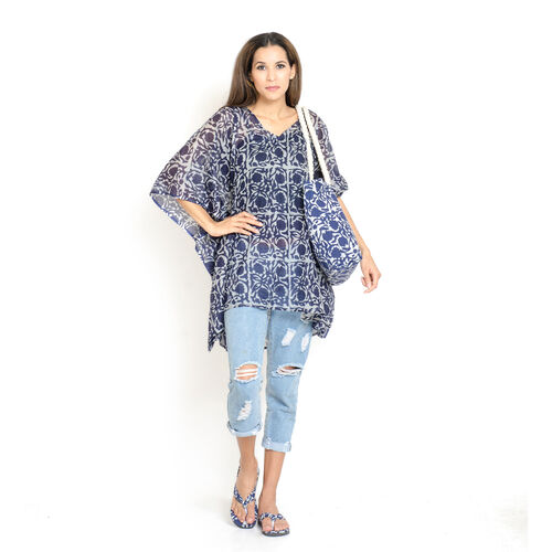 Set of 100% Cotton Blue and White Colour Printed Kaftan (Free Size), Bag (Size 50x40 Cm) and Flip Fl