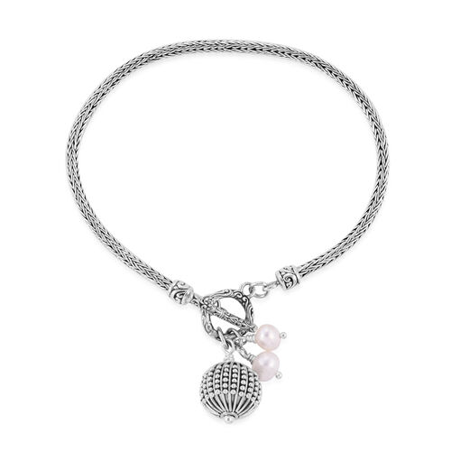 Royal Bali Collection- Fresh Water Pearl Bracelet (Size 7) with Charms in Sterling Silver, Silver wt