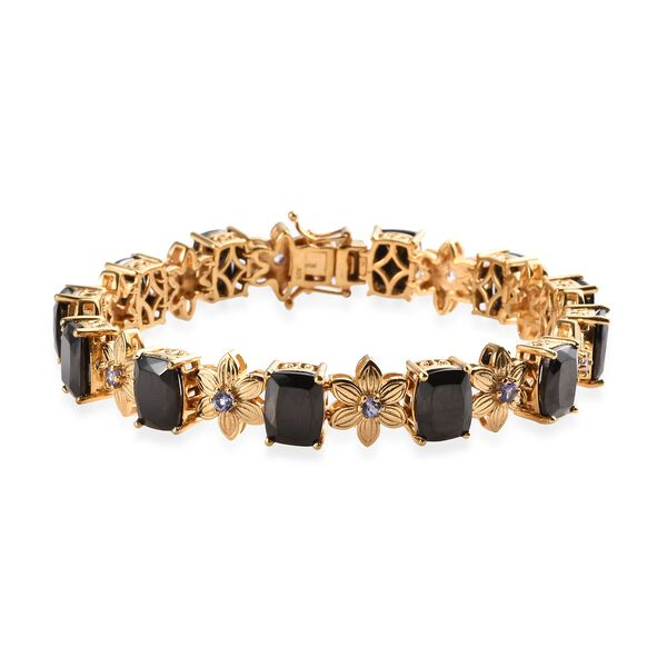 14.75 Ct Elite Shungite and Tanzanite Floral Bracelet in Gold Plated Silver 22 Grams 8 Inch