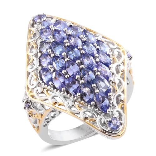 Tanzanite (Mrq) Cluster Ring in Platinum and Yellow Gold Overlay Sterling Silver 4.250 Ct. Silver wt