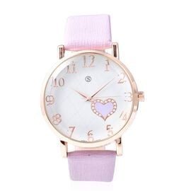 STRADA Japanese Movement Water Resistance Watch in Rose Tone - Light Purple