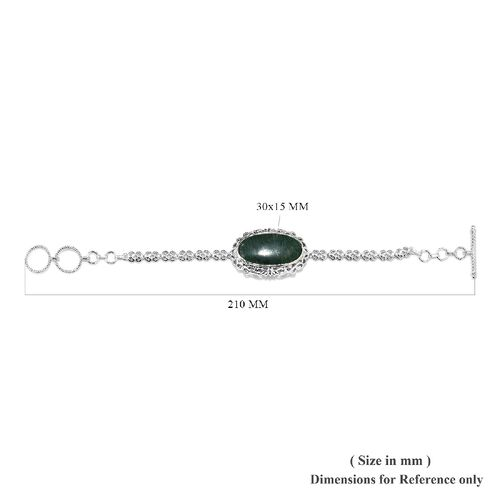 Green Aventurine (Ovl 30x15 mm) Bracelet (Size 7.5/8) in Platinum Plated 19.500 Ct.