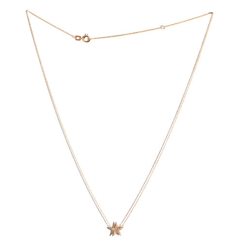 14K Yellow Gold Star Necklace (Size 18)