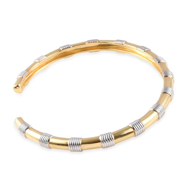 Platinum and Yellow Gold Overlay Sterling Silver Spiral Cuff Bangle (Size 7.5), Silver wt 14.90 Gms