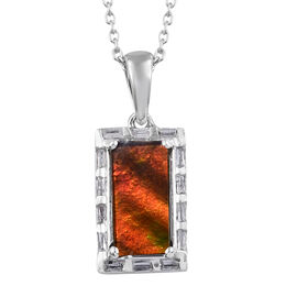 AA Canadian Ammolite (Bgt), Diamond Pendant With Chain (Size 20) in Platinum Overlay Sterling Silver